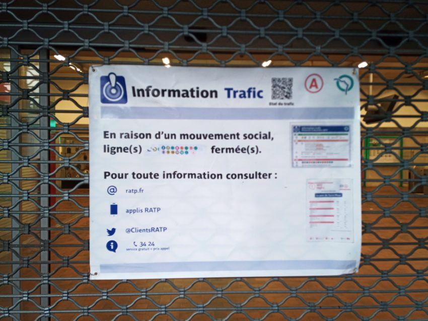 Trasporti Parigi 9 dicembre